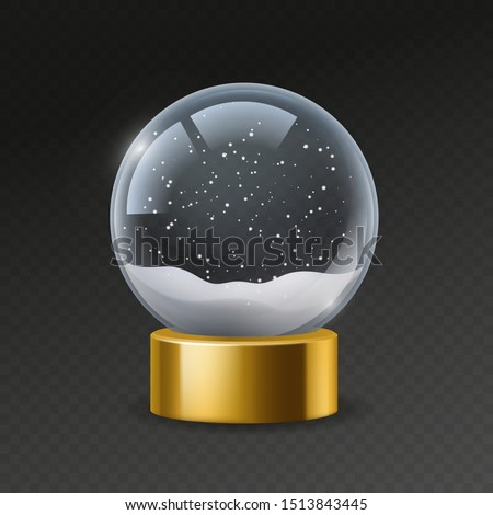 Christmas globe. Empty snowglobe with snow, magic crystal ball. Transparent glass sphere with snowflakes. Xmas souvenir vector winter 3d bubble mockup