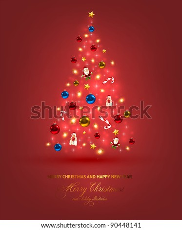 Christmas glossy tree with stars, balls, Santa Claus and Snowman