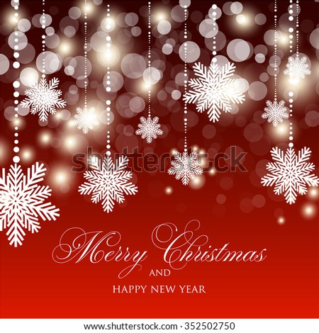 merry christmas and happy new year card xmas decorations blur silver snowflakes vector ez canvas