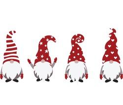 Christmas Gnome Vector Illustration, Scandinavian Nordic Gnome, Cute Christmas Santa Gnome Elf