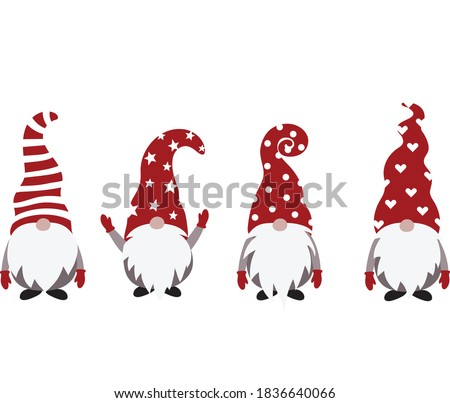 Christmas Gnome Vector Illustration, Scandinavian Nordic Gnome, Cute Christmas Santa Gnome Elf