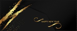 Christmas gold design black background abstract shiny color golden with blue and gold decorative elements. New year banner background illustration