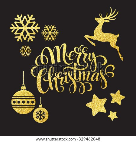 Christmas gold glitter  elements. Vector illustration EPS 10