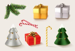 Christmas golden and red gifts with Christmas caramel and Christmas tree and branches. 3d realistic vector icon set