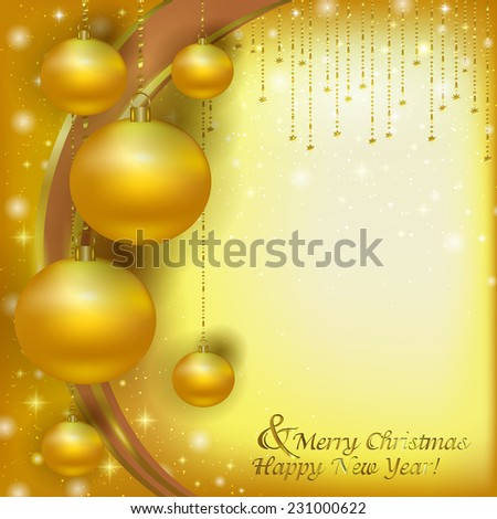 Christmas Golden balls on a Christmas background of glare. Vector illustration of holiday Christmas yellow Christmas decorations, menu, postcard, banner. Hanging a bunch of Christmas tree decorations.