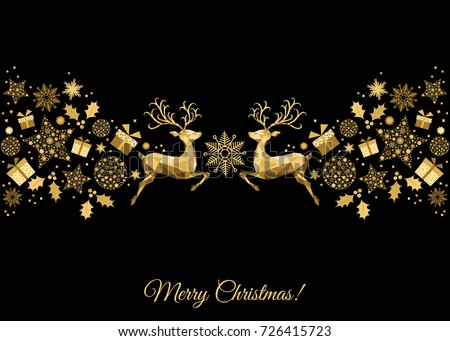 christmas golden decoration happy new year black background gold xmas jumping reindeer holly