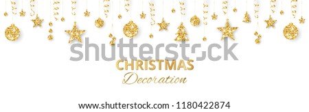 Christmas golden decoration isolated on white background. Hanging glitter balls, trees, stars. Holiday vector frame for party posters, headers, banners. Winter season sparkling ornaments on a string. #1180422874