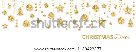 Christmas golden decoration isolated on white background. Hanging glitter balls, trees, stars. Holiday vector frame for party posters, headers, banners. Winter season sparkling ornaments on a string. #1180422877