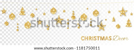 Christmas golden decoration isolated on white background. Hanging glitter balls, trees, stars. Holiday vector frame for party posters, headers, banners. Winter season sparkling ornaments on a string. #1181750011