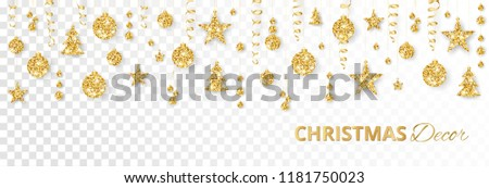 Christmas golden decoration isolated on white background. Hanging glitter balls, trees, stars. Holiday vector frame for party posters, headers, banners. Winter season sparkling ornaments on a string. #1181750023
