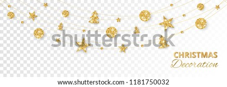 Christmas golden decoration isolated on white background. Hanging glitter balls, trees, stars. Holiday vector frame for party posters, headers, banners. Winter season sparkling ornaments on a string. #1181750032