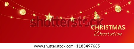 Christmas golden decoration on red background. Hanging glitter balls, trees, stars. Holiday vector frame for party posters, headers, banners. Winter season sparkling ornaments. Seamless strings.