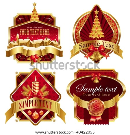 Christmas golden ornate frames with holiday symbols