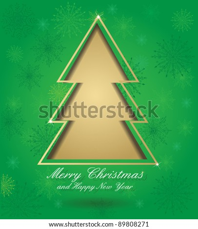 Christmas green card with tree formed from paper. Christmas postcard with seamless ornament, for your design. Eps 10.