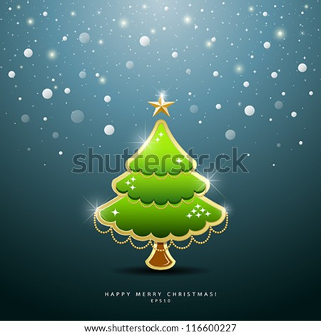 Christmas Green tree Greeting Card, vector illustration
