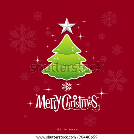 christmas green tree, star and text design illustration