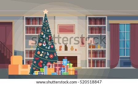 christmas green tree with gift
