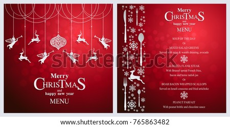Christmas menu card | etsy.