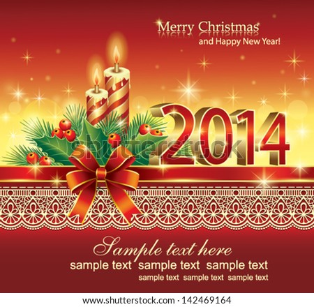 Luxury christmas greeting card design with snowflakes and glowin christmas greeting card 2014 m4hsunfo Images