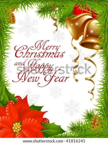 Christmas greeting card 2 - stock vector