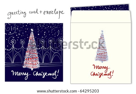 Christmas greeting. Card and envelope - stock vector