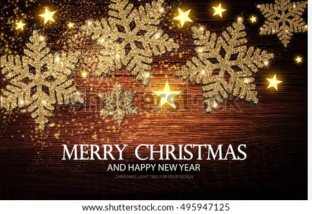 Christmas Greeting Card and Happy New Year Invitation with Shining Gold Snowflakes and Stars on Wood Texture Abstract Background. Vector illustration