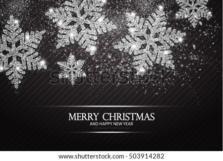 christmas greeting card and happy new year invitation with shining silver snowflakes and stars on black