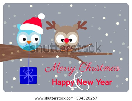Stock Photo christmas greeting card, best wishes of a merry christmas and happy holidays with a delicious pair of owls in christmas version under snowflakes