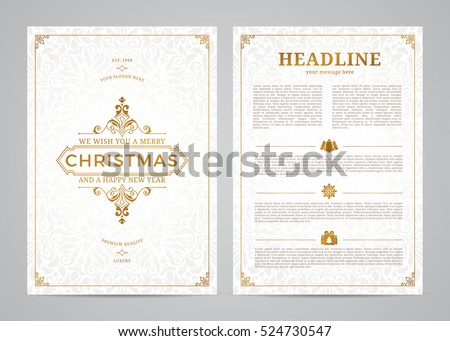 Christmas greeting card design. Poster, page, banner, brochure, template. Vector illustration.