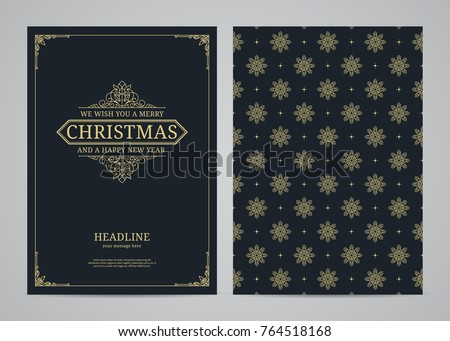 Christmas greeting card design. Poster, page, banner, brochure, template. Vector illustration. #764518168