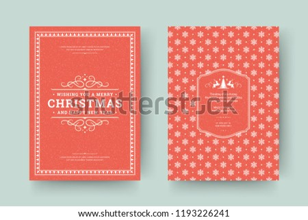 christmas greeting card design template merry christmas and holidays wishes retro typographic label and place happy new year