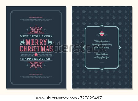 Christmas greeting card design template. Merry Christmas and holidays wishes retro typographic label and place for text. Vector illustration. #727625497