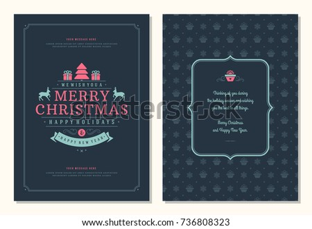 Christmas greeting card design template. Merry Christmas and holidays wishes retro typographic label and place for text. Vector illustration. #736808323