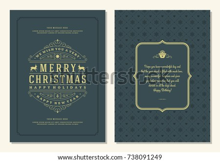 Christmas greeting card design template. Merry Christmas and holidays wishes retro typographic label and place for text. Vector illustration. #738091249