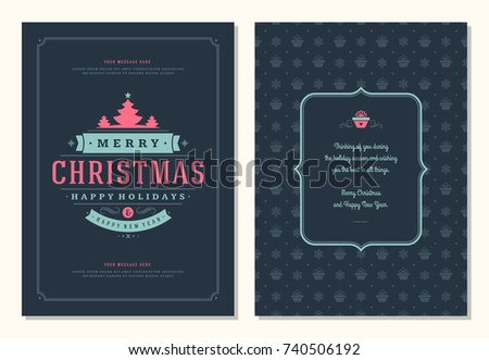 Christmas greeting card design template. Merry Christmas and holidays wishes retro typographic label and place for text. Vector illustration. #740506192