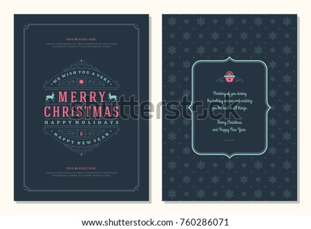 Christmas greeting card design template. Merry Christmas and holidays wishes retro typographic label and place for text. Vector illustration. #760286071