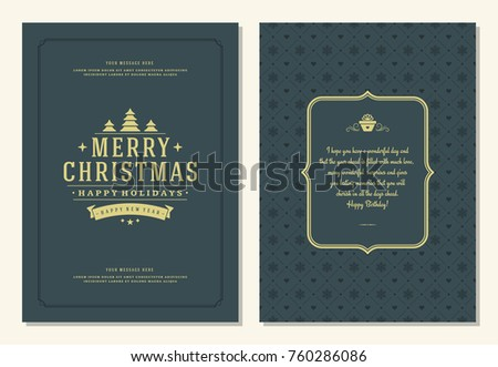 Christmas greeting card design template. Merry Christmas and holidays wishes retro typographic label and place for text. Vector illustration. #760286086