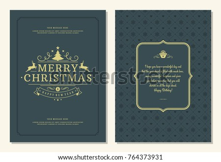 Christmas greeting card design template. Merry Christmas and holidays wishes retro typographic label and place for text. Vector illustration. #764373931