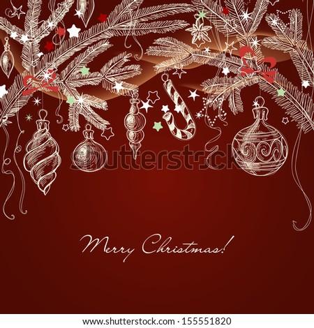christmas greeting card  hand