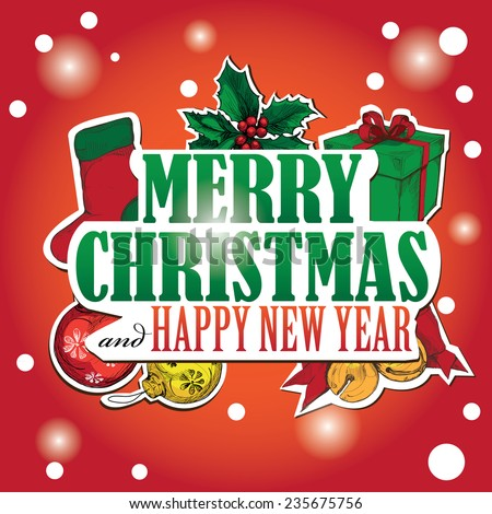 Christmas Greeting Card. Happy New Year Card. vector illustration.