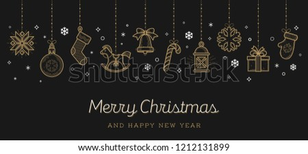 Christmas greeting card. Holiday signs and symbols hanging on black background, Vector illustration.
