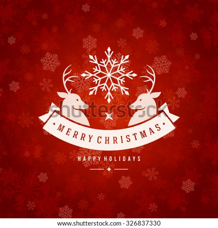 Christmas greeting card lights and snowflakes vector background. Merry Christmas holidays wish and Happy new year message typography design and vintage ornament. Vector illustration.