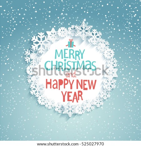 Stock Photo Christmas Greeting Card. Merry Christmas and happy new year lettering. Snowfall background. Vector illustration.