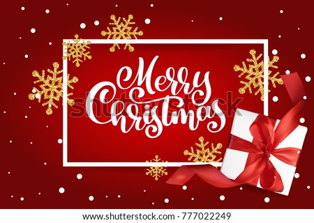 Christmas Greeting Card. Merry Christmas lettering, red background vector illustration, with a Mesh gift box and golden snowflakes #777022249