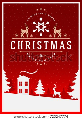 Christmas greeting card or poster design. Merry Christmas typography holidays wish logo emblem template. Winter landscape vector background.