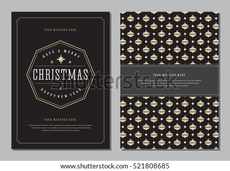 Christmas Greeting Card or Poster Design Template. Merry Christmas and Holidays Wishes Retro Typography Label and place for text. Vector illustration EPS 10. #521808685