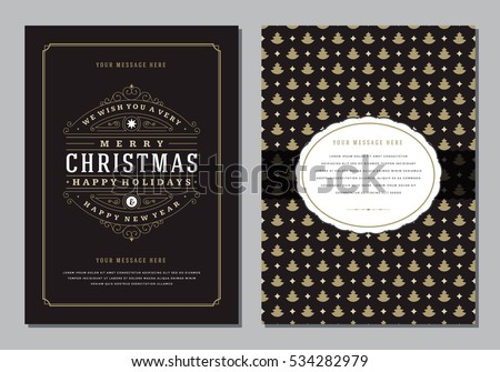 Christmas Greeting Card or Poster Design Template. Merry Christmas and Holidays Wishes Retro Typography Label and place for text. Vector illustration EPS 10. #534282979