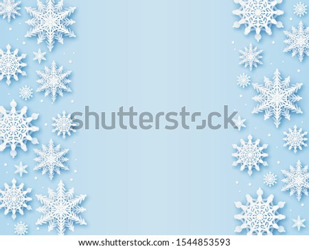 Christmas greeting card. Paper cut snowflakes xmas, happy new year and winter holidays vector background with snow design glitter frame greetting pattern