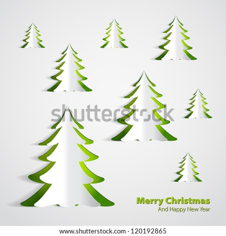 Christmas Greeting Card - paper woods - vector illustration