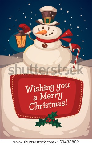 Christmas greeting card  poster  banner Snowman with candy Vector illustration
